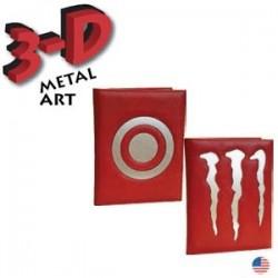 Custom Logo  Sewn Leather Metal Art Folder