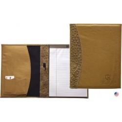 Custom Logo Tuscan Leather Zip Pocket Padfolio